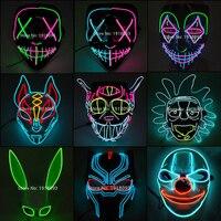Heiße Verkäufe Halloween LED Maske Partei Maske Maskerade Masken Horror Neon EL LED Light Up Maske Halloween Glow Party liefert