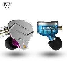 Наушники вкладыши Kz Zsn Pro с монитором, металлические гибридные Hi Fi наушники с басами, Спортивная гарнитура с шумоподавлением, 2 штырька