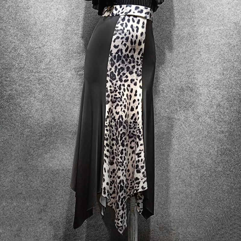 New BallroomDanceLongSkirt Women Fashion Leopard Print Split Flamenco Skirt Adults Spanish Practice Performance Wear DN4891
