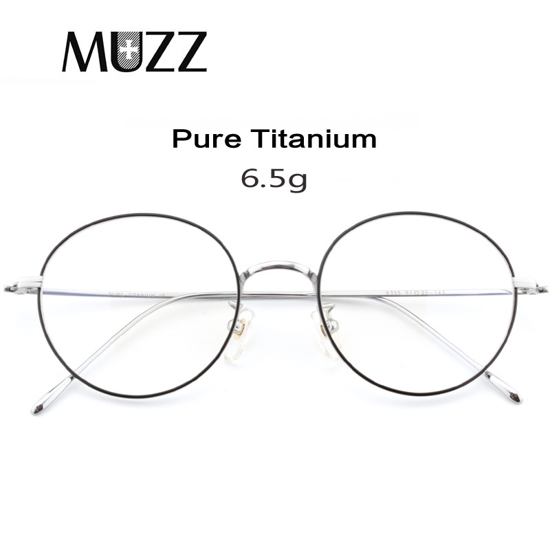 Pure Titanium Glasses Frame Men Vintage Round Myopia Optical Prescription Eyeglasses Frames New Women Female Retro Oval Eyewear