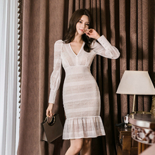 Korean Style Hollow Out White Lace Dress Women V-neck Trumpet Bodycon Dress Women Autumn Winter Work Office Dress Plus Size Ropa цены