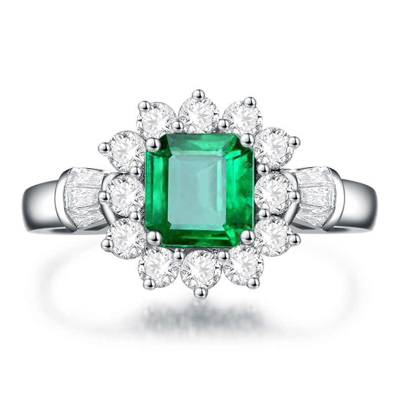 PANSYSEN, recién llegado, anillo de joyería de 100% Plata de Ley 925 Vintage, anillo de diamante Esmeralda natural gema para mujer, tamaño 5-12