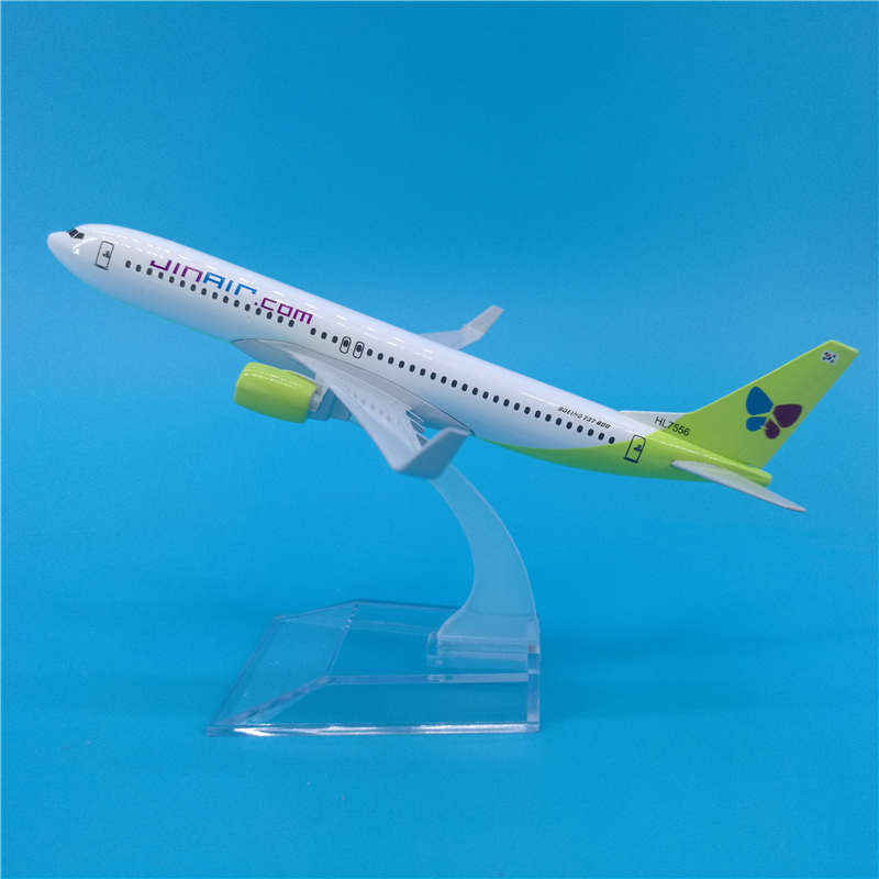 16cm Korean Air Boeing 737 Alloy Airplane Model Gift Decoration Collection Jin Air B737 Collectible Airplane Models Toys image