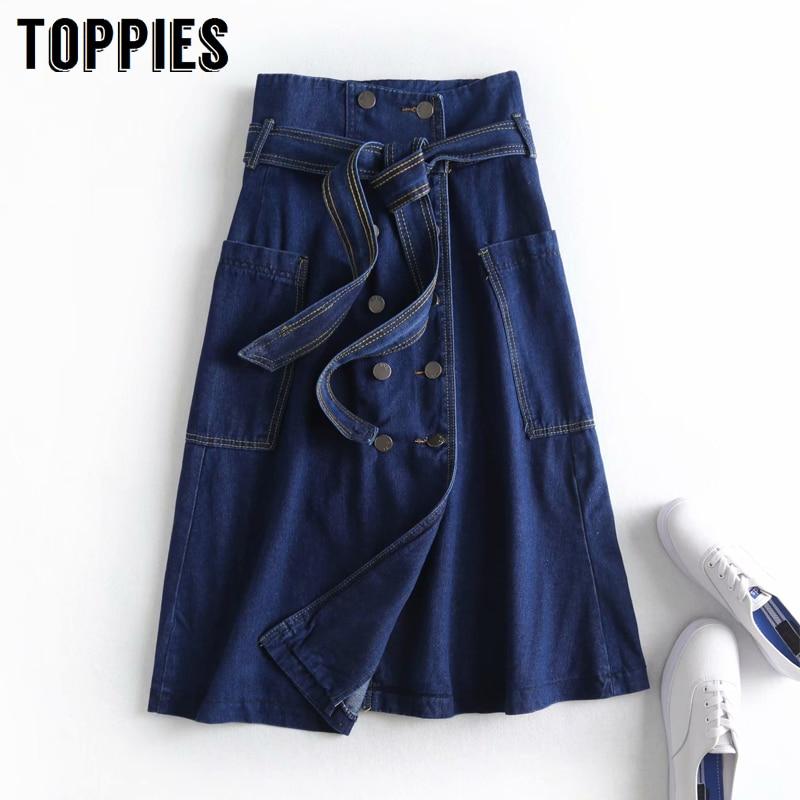 Winter Jean Skirts Womens Vintage Double Breasted Midi Skirts Side Double Pockets High Waist A-line Faldas Streetwear