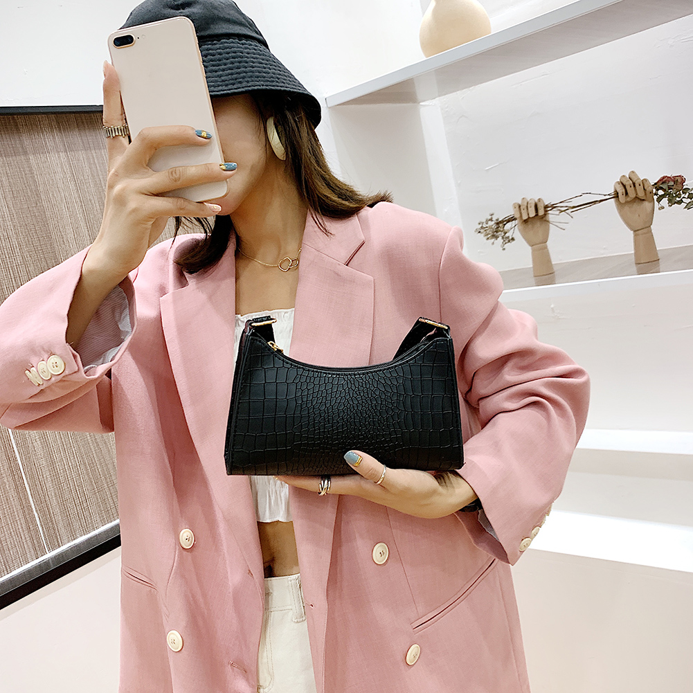 Women Solid Color PU Leather Handbags Totes Lady Daily Shopping Shoulder Bags Youth Ladies Simple Versatile Bag