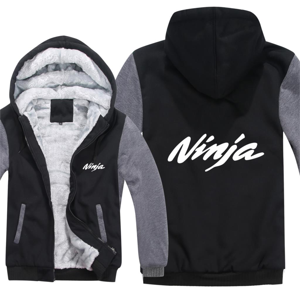 Kawasaki Ninja Hoodies Men Fashion Coat Pullover Wool Liner Jacket Kawasaki Ninja Sweatshirts Hoody HS-105