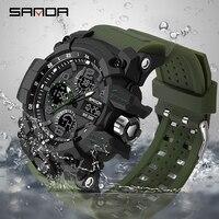 Deportes SANDA-reloj analógico de cuarzo para hombre, accesorio de pulsera resistente al agua con doble pantalla, complemento Masculino de marca de lujo con diseño militar, 6021