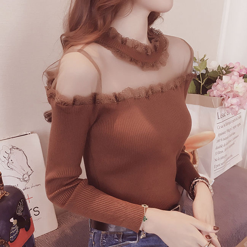 Women's Fashion Long Sleeve Lace Rufflrd Collar Sweater Autumn Ladies Sexy See Through Solid Color Knitted Pullovers Plus Size