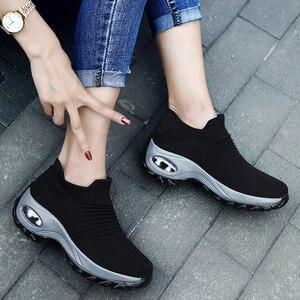 Image 5 - אופנה אישה Tenis Feminino לנשימה רשת טניס נעלי גובה הגדלת להחליק על נשי גרב סניקרס עבה תחתון פלטפורמות