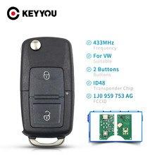 KEYYOU 433 МГц 2 кнопки 1J0 959 753 AG автомобиля Удаленное брелок флип чехол для VW VolksWagen Beetle Bora Golf Passat Polo ID48 чип