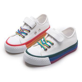 Children Canvas Shoes for Girls Boys Kids Fashion Sneakers Casual Child Running Shoes Rainbow Student Sport Shoes Tenis Infantil children sport shoes casual fashion boys girls net cloth breathable shoes kids sneakers student outdoor running shoes red black