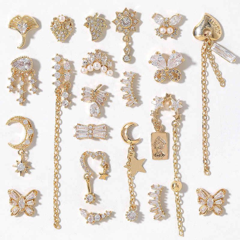 Nieuwste 2 Stuks Veel Hanger Ketting 3D Legering Vlinder Nail Art Zirkoon Parel Metalen Manicure Nagels Diy Accessoires Nail Decoratie