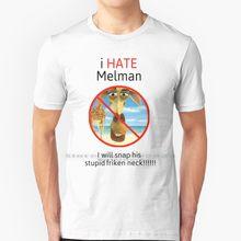 6i odeio melman t camisa 100% algodão puro tamanho grande melman estranhamente específica eu odeio melman melman meme imagem amaldiçoada