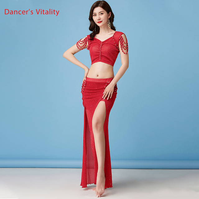 Belly Dance Suit New Summer Female Temperament Top Practice Clothes Profession Sexy Mesh Long Skirt Training Clothing 1