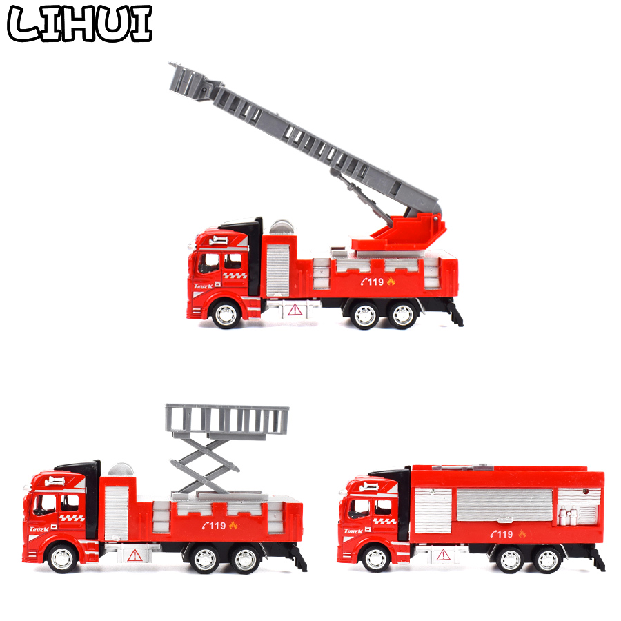 Kids Toy Fire Truck Model Alloy Diecast Inertia Fire Ladder Vehicle Rescue Transport Car Educational Toys For Children Boys Gift