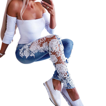 Women Jeans Lace Floral Pant Female Hollow out Pencil Pants Fashion Skinny Mid Waist Jean Casual vaqueros mujer D30
