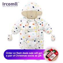Ircomll 2020 באיכות גבוהה תינוקת Romper כותנה ברדס רך וחם צמר מרופד בגדים עבור בנות סרבל תלבושת ברדס