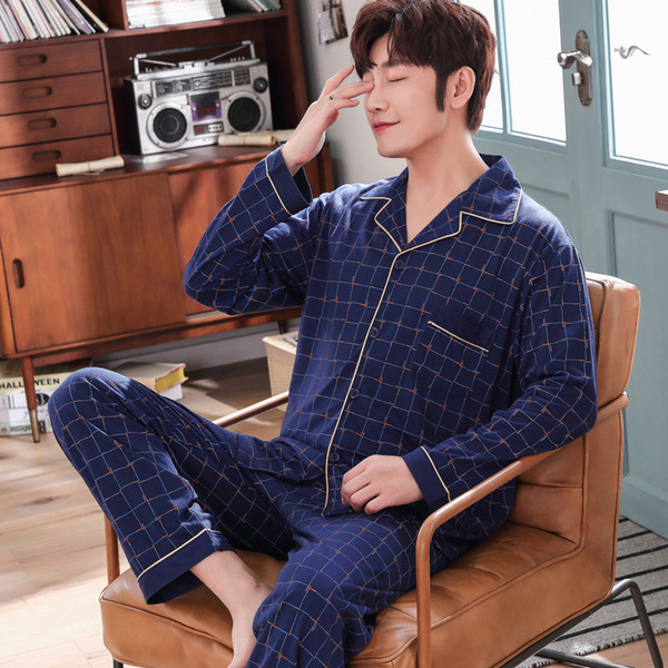 Onesie Men Spring And Autumn 2020 New Men's Pajamas Long Sleeve Thin Large Size Loose Korean Version Cardigan Home Clothes Set