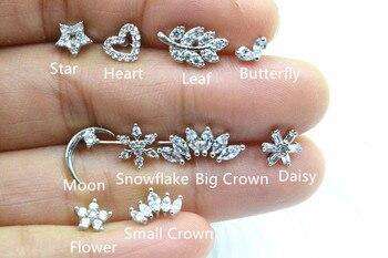 Lot50pcs Body Jewelry- Heart/Daisy/Flower CZ Ear Studs/Earring Helix Bar Upper Earring Body Piercing Tragus Diath Earring 16g