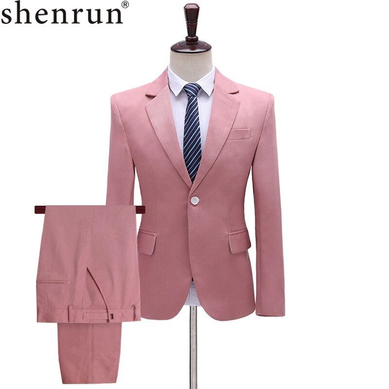 Shenrun Men's 2-Piece Suit Solid Color Plain Wedding Groom Jacket Pants Slim Yellow Blue Pink Cyan Suits Stage Dress Singer Host
