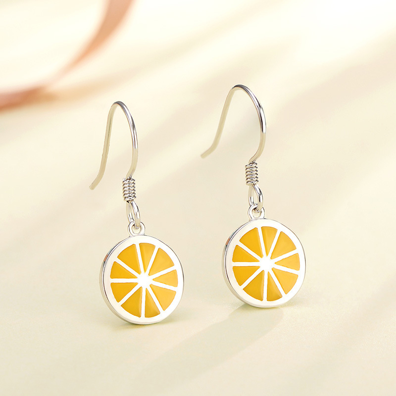 POFUNUO 925 Sterling Silver Women Anti Allergy Summer Cute Drop Earrings Girls Lemon Orange Fruit Charm Chic Dangle Earrings