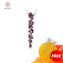 GEMS BALLET Real 925 Sterling Sliver Romantic Leaves Pendant Necklace 14.65Ct Natural Red Garnet For Women Wedding Fine Jewelry
