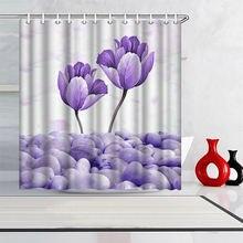 Фото Пользовательские занавески для душа фиолетовый цветок Водонепроницаемый