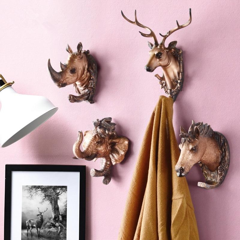 Antique wall decoration animal head decoration hook  no hole behind the door  resin toilet coat hook|Hooks & Rails| |  - title=
