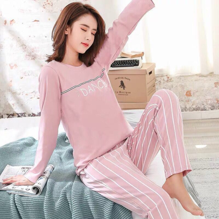 2020 Spring Summer New Arrival Pajama Sets For Women Long Sleeve 2 Pcs Pyjamas Thin Cotton Good Quality Pijama Female Sleepwear