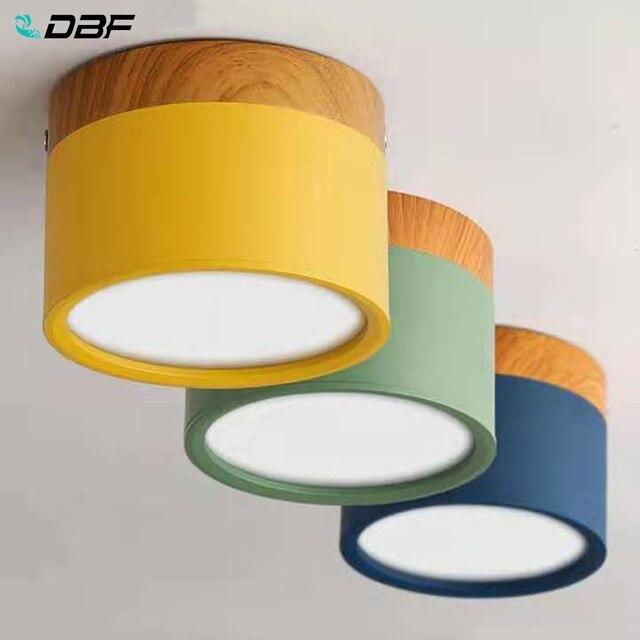 [DBF] Makronen Eisen + Holz Oberfläche Montiert Decke Downlight 5W 12W LED Decke Spot Licht AC110/220V für Küche wohnzimmer Decor