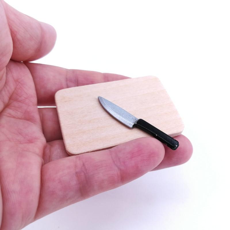 4pcs/set 1:12 Dollhouse Miniatures Kitchen Cutting Board Knife Dollhouse Decor Accessories Mini Toys