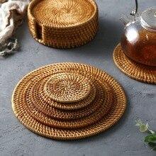 Коврик для чайной чашки, Настольный коврик, плетеный вручную вьетнамский тростниковый тканый коврик для чайной чашки, настольный теплоизол...