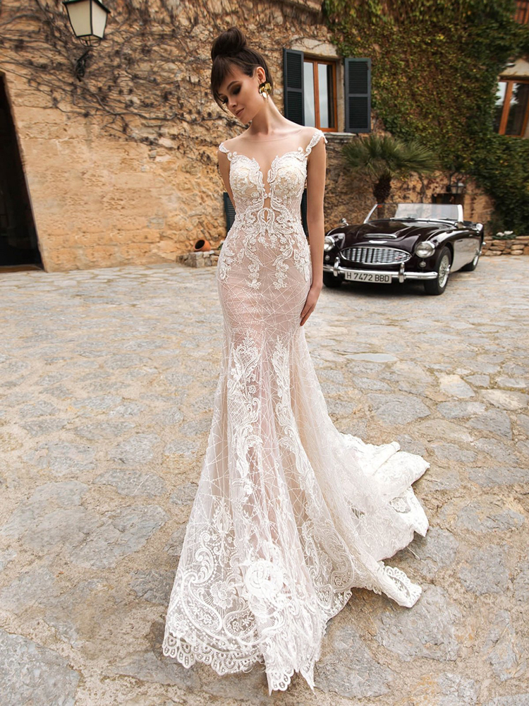 KEENRYAN Sexy Deep V neck Light Mermaid Wedding Dress 2020 Lace With Detachable Train Bride Gown Vestido de NoivaWedding Dresses   -