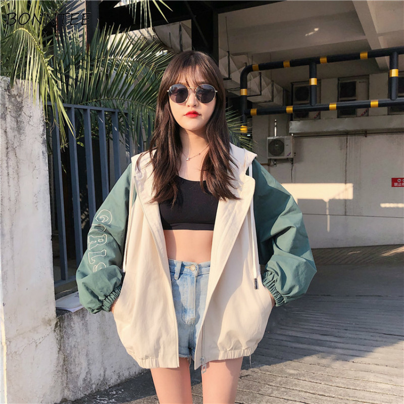 Jackets Women Loose Hooded Korean Style Harajuku High Quality Leisure Womens Clothing Trendy Students All-match Simple Spring