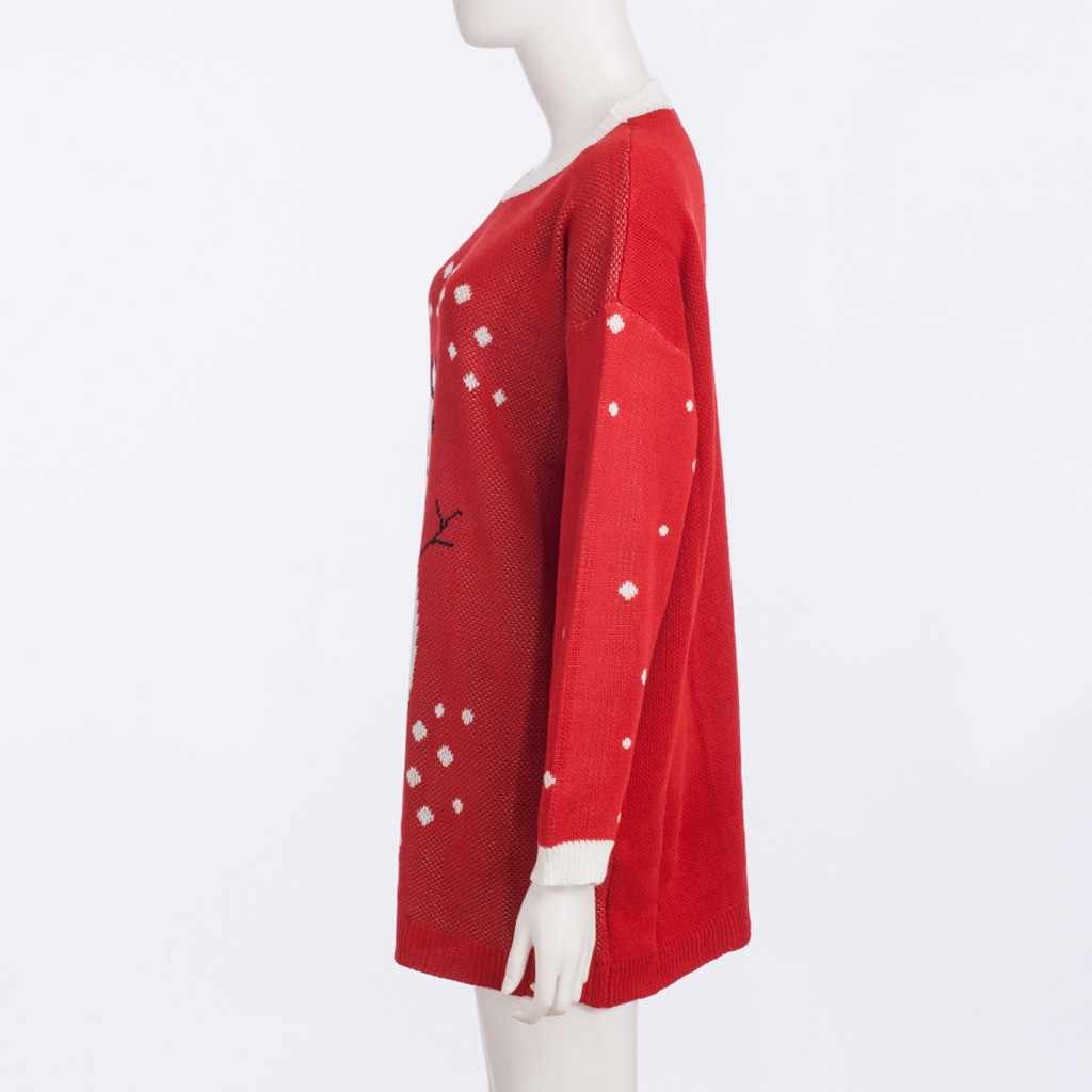 Wanita Natal Sweater Wol Merajut Santa Cute Kawaii Longgar Pullover Merah O Leher Panjang Lengan Hangat Panjang Atasan Sueter mujer # EQ