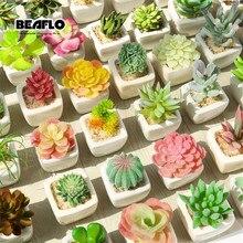 1 takım Mini saksı Succulents kaktüs seramik Bonsai yapay çiçek sahte bitkiler düğün ev partisi peyzaj dekoratif