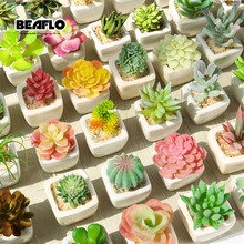 1Set Mini Potted Succulents Cactus Ceramics Bonsai Artificial Flower Fake Plants for Wedding Home Party Landscape Decorative