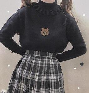 Image 3 - Harajuku słodki miś dziewczyna sweter z golfem Vintage na szyję Kawaii kobiet dziergany sweter kobiet wzburzyć wąski sweter biały czarny