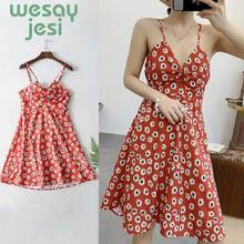 2019 new Sexy Spaghetti Strap Backless Dress Women Mini Dress Hollow Out Beach Bow Tie Floral Print Boho Dresses sweet spaghetti strap sleeveless floral print hollow out swimwear for women