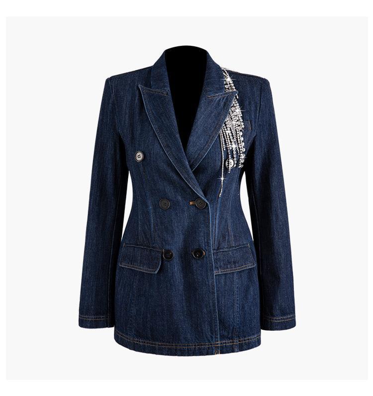 Women Turn-Down Collar Crystal Tassel Denim Blazer Suit Elegant Notched Long Sleeve Slim Coats Solid Blazer