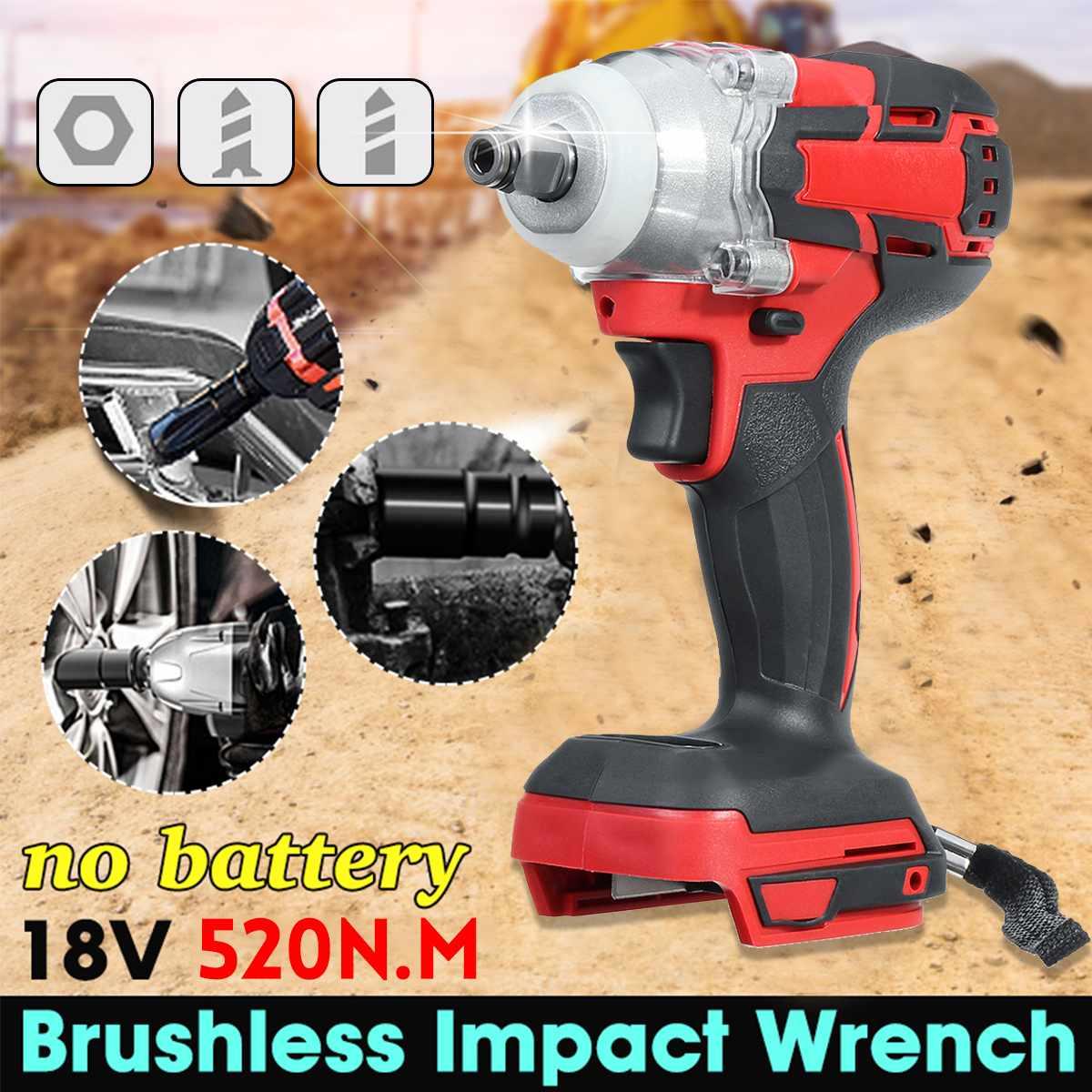18V Electric Impact Wrench  520N.m Infinitely Cordless Brushless Motor 1/2