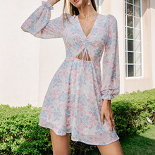 Western Style Dress Chiffon Spring Autumn The New Fashion Elegant Simple Thin Best Sellers Hollow Out V-neck Long Sleeve
