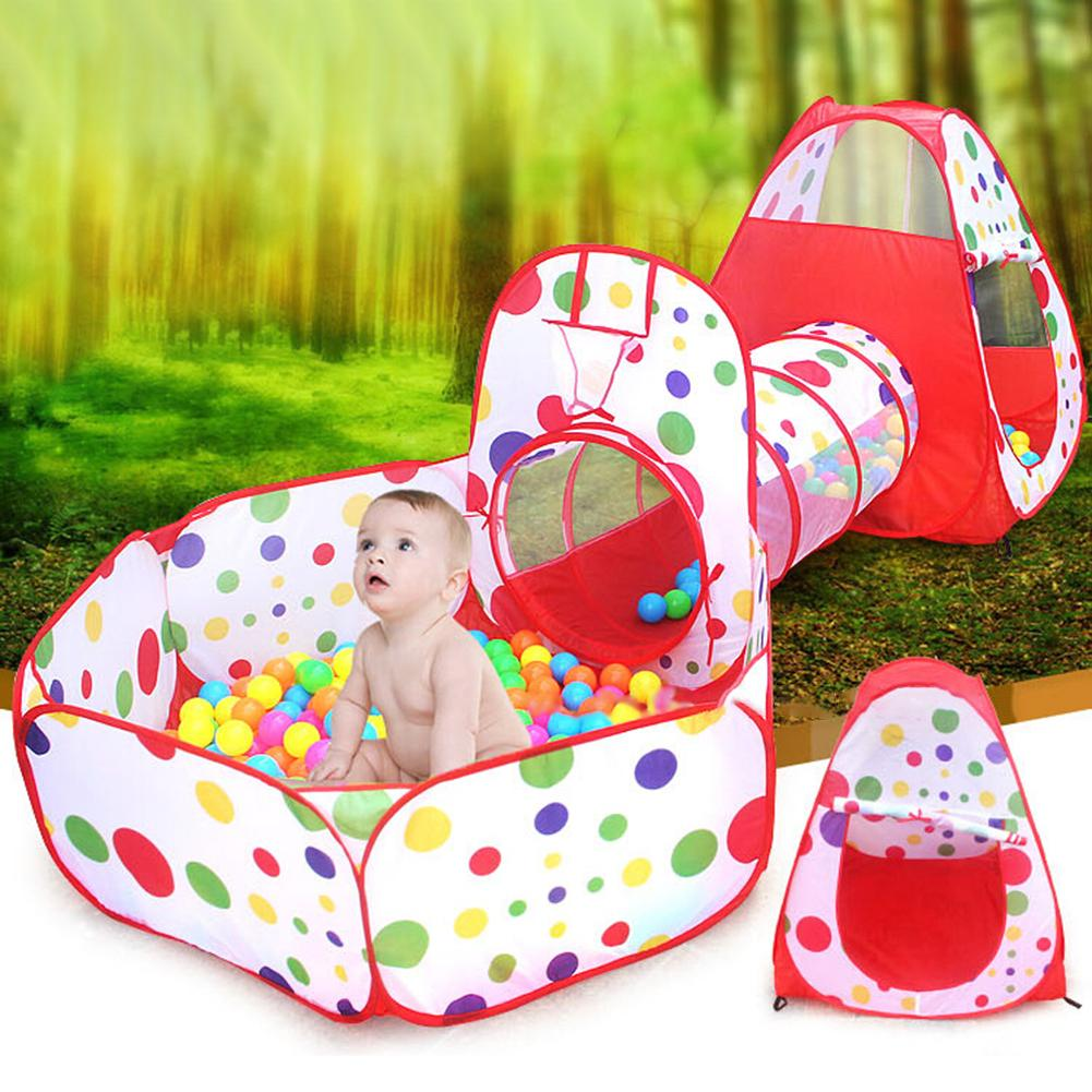 3 In 1 Indoor Outdoor Children Baby Kid Play House Tent Tunnel Ball Pool Toy