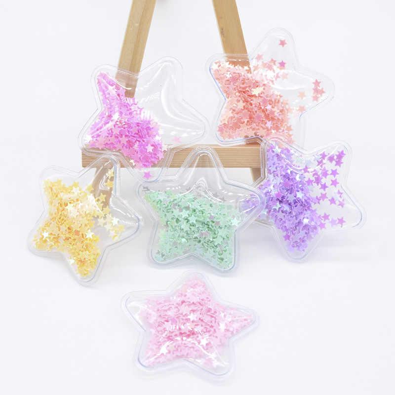 Venta al por mayor 60 piezas 50mm plástico transparente relleno lentejuelas apliques estrella parches para DIY pastel Topper pelo BB Clips arco decoración H04