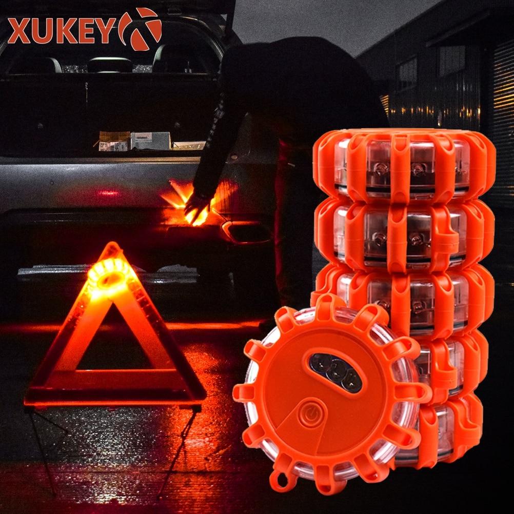 6PCS LED Road Flares Blinkendes Scheibensignal Mit 9 Blitzmodi Magnetfu/ß Und Haken Aufbewahrungstasche Blinkende Am Stra/ßenrand F/ür PKW-LKW-Boote