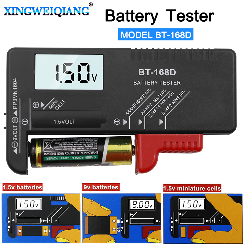 Digital Battery Capacitance Diagnostic Tool Battery Tester LCD Display Check AAA AA Button Cell Universal Tester