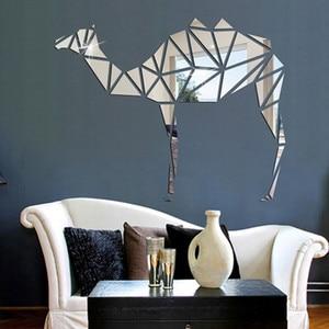 Geometric Camel Acrylic Crystal Mirror Sticker Solid Wall Sticker Bedroom Living Room Decor Sticker Splicing Combination DIY(China)