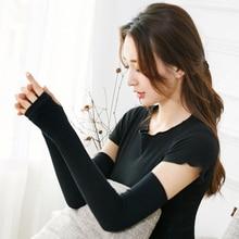 1 Pair Women Long Fingerless Gloves Wrist Elbow Gloves Hand Arm Warmer Work Gloves Knitted Elbow Mittens Apparel Accessories