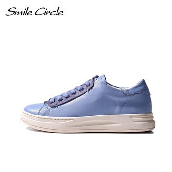 Smile Circle  Sheep leather Luxury Women Sneakers Lace-up Casual Flat Ladies Shoes high quality Comfortable Women's Flat Shoes high quality smile face high vamp shoes