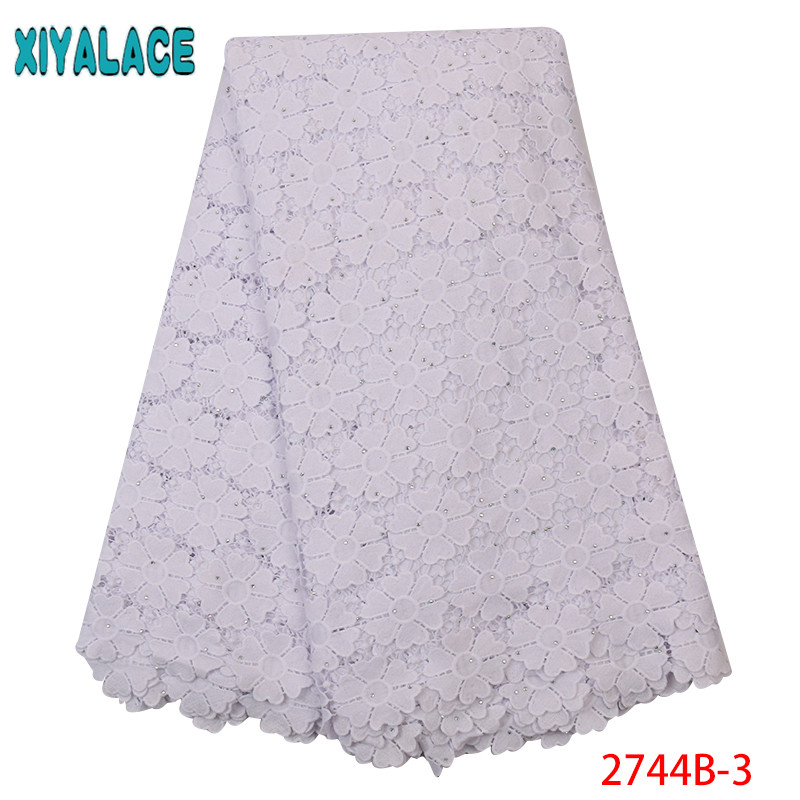 2019 Latest Guipure Lace Cord Lace Fabric Milk Silk Water Soluble Dress Lace With Stones White KS2744B-3